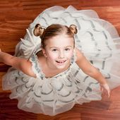 Beautiful little dancer. Ballerina in  princess dress
