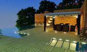 Luxury Villa Garden - Night Time