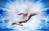 picture of holy-spirit  - father and child in tender gesture over divine rays of light - JPG