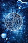 background with space zodiac wheel and planets