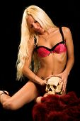 Woman In Underwear With Skull