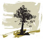 Silhouette of tree on a grunge background