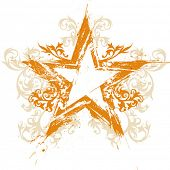 Постер, плакат: Золото цветочные гранж звезда