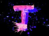 Neon watercolor paint - letter T
