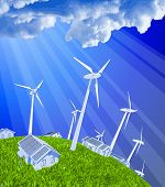 ecology concept: wind-driven generators, houses with solar power systems, blue sky & green grass