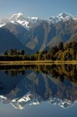 Lake Matheson And Mount Cook