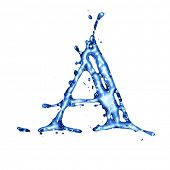 Blue liquid water alphabet with splashes and drops - letter A