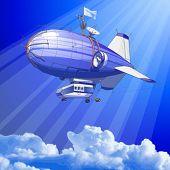 céu azul & balão dirigível - vector