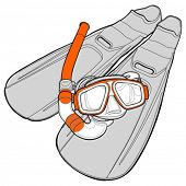 set of diving - flippers and a mask with a tube