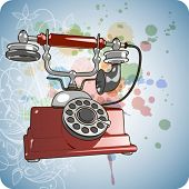 foto of hooters  - Vector red vintage telephone  - JPG