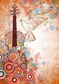 Violin, music sheets, flying doves on the color paint background of stylized ornament &  orchid flow