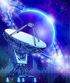 satellite dishes antenna - doppler radar, blue planet & electromagnetic waves - technology backgroun