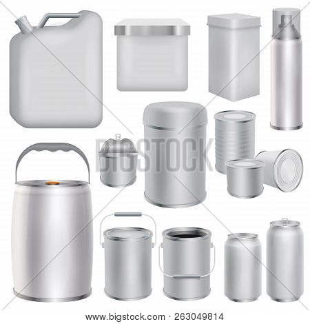 poster of Metal Packaging Mockup Set. Realistic Illustration Of 10 Metal Packaging Mockups For Web