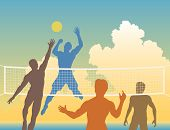 image of volleyball  - Editable vector colorful silhouettes of four men playing beach volleyball - JPG