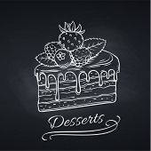 Hand Drawn Cake On Chalkboard. Piece Of Chocolate Dessert Confectionery With Berries Strawberries, R poster