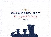 Happy Veterans Day. Greeting Card With Soldier On Background. National American Holiday Event. Flat poster