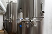 Craft Beer Brewing Equipment In Brewery. Metal Tanks, Alcoholic Drink Production. Facilities In Mode poster