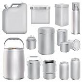 Metal Packaging Mockup Set. Realistic Illustration Of 10 Metal Packaging Mockups For Web poster