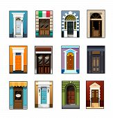 Entrance Doors. Set Of Entrance Doors. Set Of Entrance Doors In A Flat Style. Set Of Colorful Front  poster