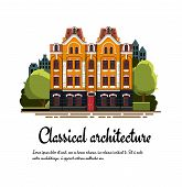 Classical Architecture. Facade Of A Classical Building. Exterior Of A Classical Building. Vector Fac poster