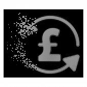 Refresh Pound Balance Icon With Dissipated Effect On Black Background. White Circle Dots Are Grouped poster