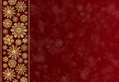 Christmas Border Of Golden Snowflakes On A Red Background. Volumetric 3d Gold Snowflakes. Holiday Ba poster