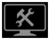 Halftone Dotted Desktop Settings Icon. White Pictogram With Dotted Geometric Structure On A Black Ba poster
