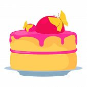 Cake For Princess Icon. Cartoon Illustration Of Cake For Princess Icon For Web poster
