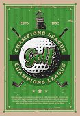 Golf Club, Sport Retro Banner. Ball And Crossed Sticks On Club Grunge Poster With Green Golf Course, poster