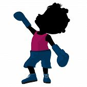 Little African American Boxer Girl Illustration Silhouette