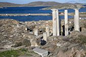 View overlooking 'Cleopatra's House' and the ruins of Delos towards the shore.  The Greek island of