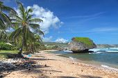 A lonely beach at Bathsheba, on the Atlantic side of Barbados, Lesser Antilles