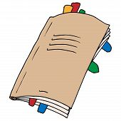 Notebook With Bookmarks Icon. Vector Notebook. Hand Drawn Notebook With Bookmarks. poster