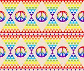 Vintage abstract seamless wallpaper with psychedelic triangle colorful pattern and hippie peace symb poster