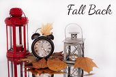 Daylight Saving Time. Wall Clock Going To Winter Time. Autumn Abstraction. poster