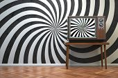 Vintage retro TV set with hypnotic spiral on the screen. Propaganda and brainwashing of the influent poster