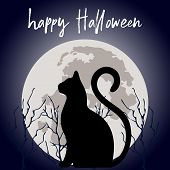Full Moon With Cat Cats Silhouette Of Animal In Night Sky With Full Moon. Fun Funny Meow Halloween H poster