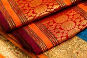stock photo of indian sari  - Indian silk saries close up - JPG