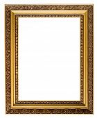Empty gold plated wooden picture frame with border isolated on white background