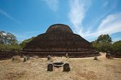 Ancient Buddhist dagoba (stupe) Pabula Vihara. Ancient city of Pollonaruwa, Sri Lanka