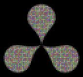 Map Pointers Mosaic Of Round Dots In Soft Color Tints On A Black Background. Vector Dots Are Compose poster