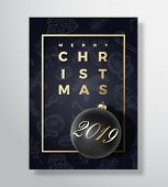 Merry Christmas Abstract Vector Greeting Card, Poster Or Holiday Background. Black On Black And Gold poster