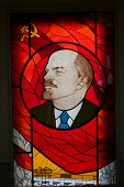 Glass painting of unknown artist - Lenin's portrait