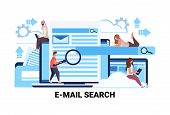 Mix Race People Magnifier Zoom Searching Information Email Search Concept Flat Teamwork Strategy Hor poster