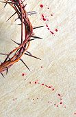 image of crown-of-thorns  - Crown of thorns with blood on grungy background - JPG