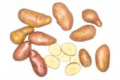 Group Of Lot Of Whole Five Slices Of Fresh Red Potato Francelina Variety Flatlay Isolated On White B poster