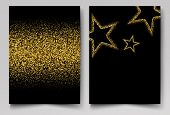 Vector Background With Gold Shiny Stars Gold Glitter poster