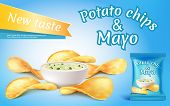 Promotion Banner With Realistic Potato Chips And Mayo In Bowl. Fast Food With Mayonnaise, Foil Packa poster