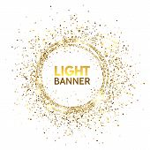 Glitter Circle. Festive Gold Sparkle Background. Glittering Circle Frame. Star Dust. Light Design Fo poster