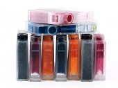 Set of ink printer cartridges on white background